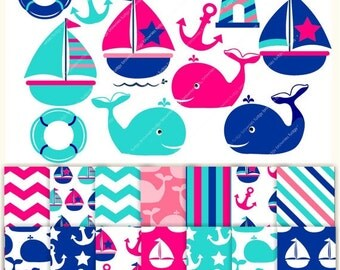 ON SALE Digital Papers and clip art , Nautical fun MS 13, for invites,scrapbooking ,sail boat,sailing clip art,whale clip art , Instant Down