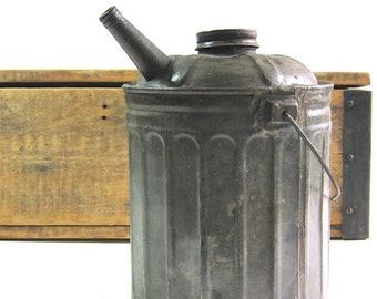Vintage Gas Can - Oil Can - Rustic Metal Can - Vintage Auto Tools  - Can With Spout - Mechanical Industrial  Decor - Garden Art - Home Decor