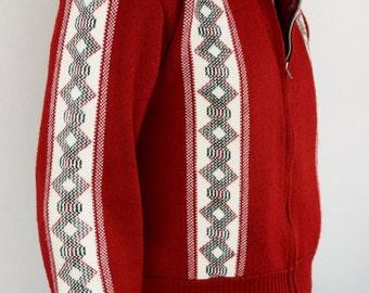 Vintage 1950's 60's Orlon Campus MEN'S Knit Sweater Mad MOD Jacket Cardigan Atomic L