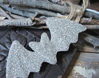 Silver Glitter Halloween Bat