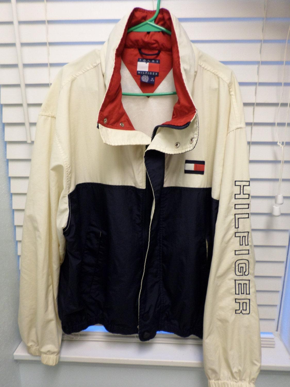 sale rare vintage tommy hilfiger windbreaker jacket white blue. Black Bedroom Furniture Sets. Home Design Ideas