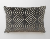 Grey velvet decorative pillow cover, cut velvet geometric lumbar throw pillow