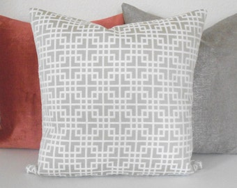 Gray and White locked geometric decorative pillow cover