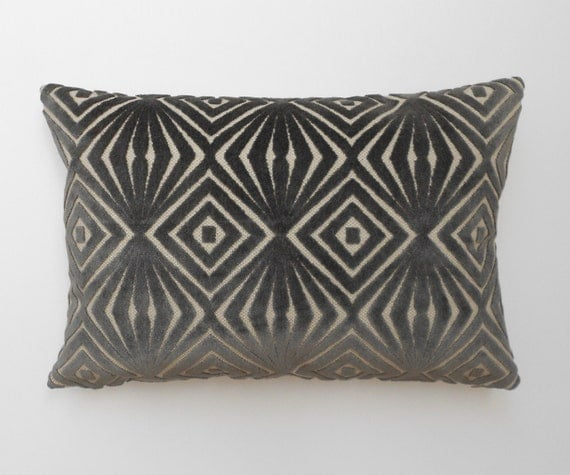 Grey Velvet Decorative Pillow Cover Cut Velvet Geometric