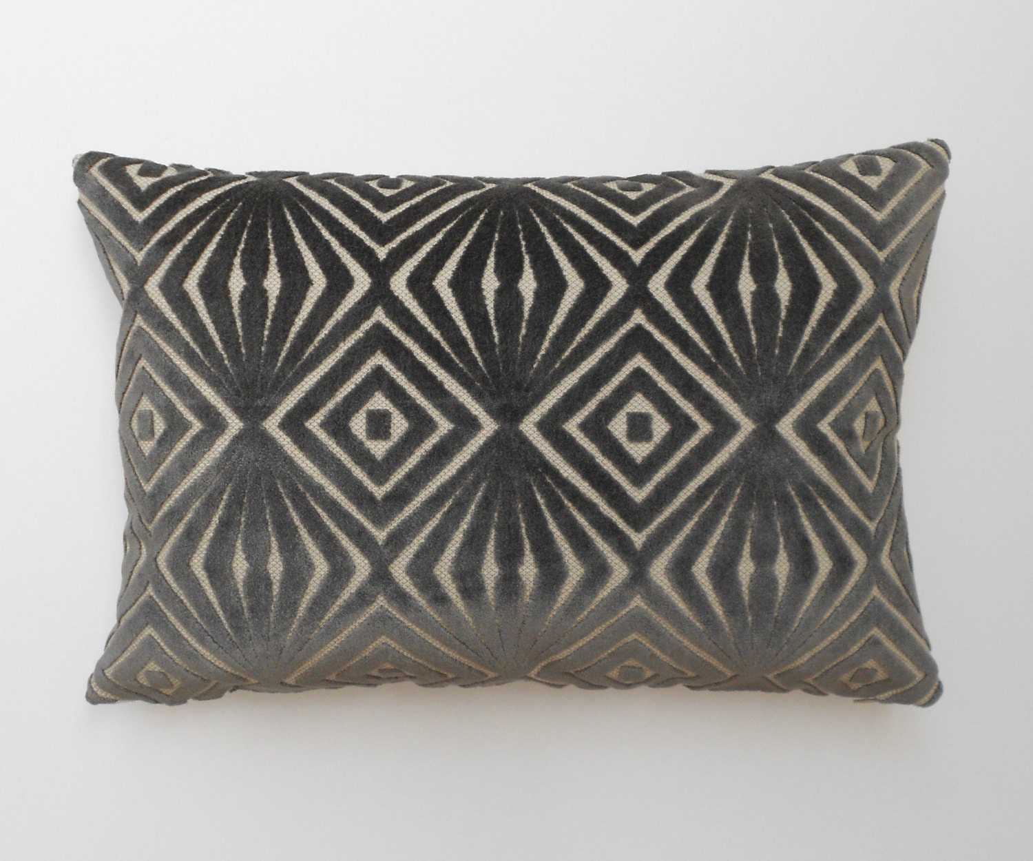 Throw Pillows Velvet : Grey velvet decorative pillow cover cut velvet geometric