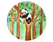Panda Original watercolor painting Hand painted nursery art Small wall decor Forest woodland theme Panda