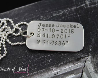 Single Dog Tag Necklace- Hand Stamped Jewelry- Mililtary Tags- Sterling Silver Necklace- Mommy Jewelry