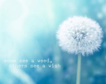 inspirational quote dandelion photography typography print quotes photography 8x10 20x30 typography art print nursery decor wishes blue