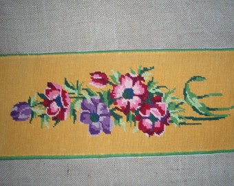 Vintage French needlepoint tapestry canvas embroidery - Anemones on yellow background