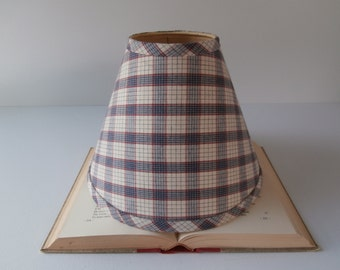 Plaid Lamp Shade, Blue and Red Checkered Fabric, Cabin or Farmhouse Lamp Shade, Cottage Chic, Clip On, 1980s 1990s, Striped, Rustic Decor