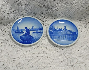 2 Mini Royal Copenhagen Butter Plates Wall Plates-Roofed House & Langeline MINT