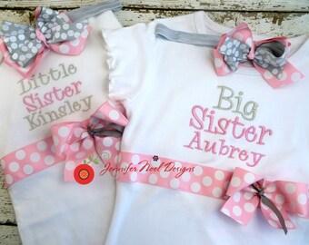Little Sister Shirt,  Big Sister shirt, Sibling Shirt Set, Kids sibling shirt, baby sister tee, sister gift, baby shower gift, take home set