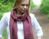 handwoven wrap merino wool scarf for her Rowan rustic pink