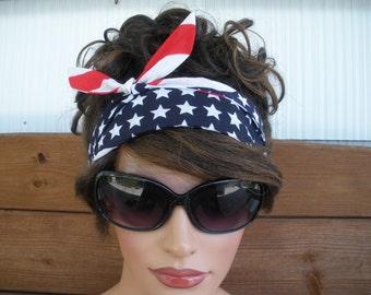 American Flag Headband 4th of July Headband Summer Fashion Accessories Women Headband Headscarf Bandana Tie Up Headband