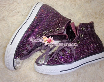 Bling CONVERSE Chuck Taylor All Star SNEAKERS with Shinning and Stylish CRYSTALS - Purple