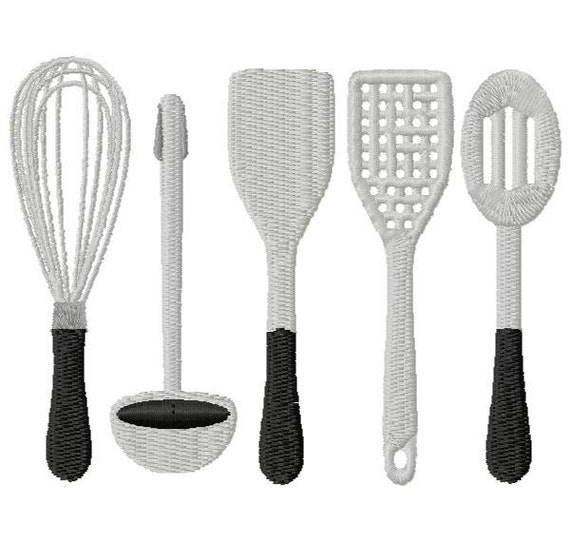 designer kitchen utensils kitchen utensils embroidery design instant 3271