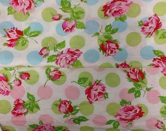 Free spirit sugar hill falling in blue or pink 100% cotton by the half metre
