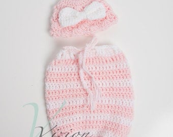 Pink and white crochet newborn snuggle sack and hat