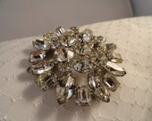 Stunning WEISS Brooch, with Brilliant Sparkle, Clear Rhinestones, with Emerald, Marquis, and Round Cut Stones.