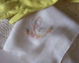Monogram C Wedding Hanky Bride's Handkerchief Off White with Peach and Yellow, Bridal Shower Gift