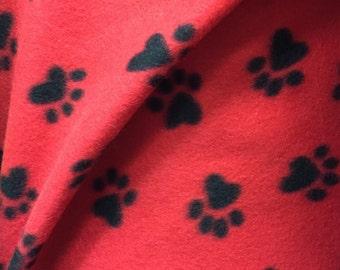 Black on Red Paw Animal Print Fleece Fabric by the yard