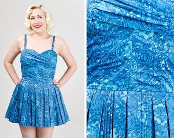 Vintage 1960s Catalina Blue Swirl Skirted Swimsuit