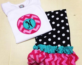 Girl's Appliquéd Shirt with Monogram and Capris