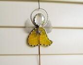 Stained Glass Yellow Angel Garden Stake in Yellow English Muffle Glass - Memorial Marker - Tibetan Silver Starfish Charm