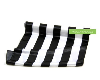 """Black and White Stripe Table Runner 18"""" x 96"""" Silk Satin Striped Canopy"""