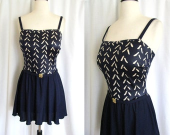 Vintage 1960s Swimsuit - Roxanne One Piece Bathing Suit w/ Skirt - Removable Straps - 36 D