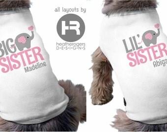 Dog Big Sister Shirt & Dog Little Sister Shirt (pink/gray design) - 2 Personalized Dog Sister Shirts