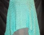 Lacy Crochet Stole - Prayer - Wedding Shawl in Aqua Blue