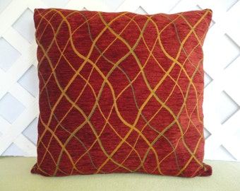 Windowpane Pillow Cover in Burnt Orange, Caramel, Teal/ Geometric Pillow Cover/ Burnt Orange Pillow/ Decorative Pillow/ Accent Pillow