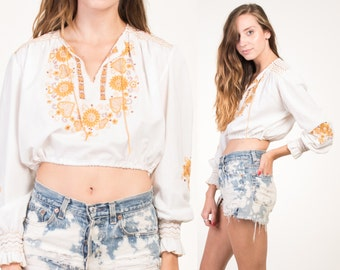 Vintage 70's White Gold Embroidered Bohemian Crop Top