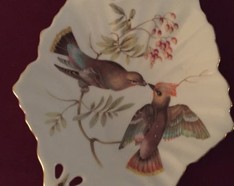 Mitterteich Bavaria Germany Bird Leaf Shaped Dish Candy Plate