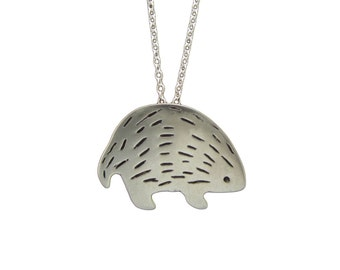 Hedgehog Necklace - White Bronze Porcupine Pendant