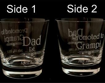 DAD Est Crystal Rocks Glass with up to 4 birthdates