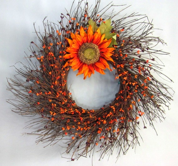 Fall Wreaths - Summer Wreath - Burgundy Orange Sunflower Berry Wreath - Country Fall Wreath - Autumn Wreath - Thanksgiving Decor