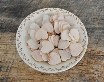 50 Wooden Unfinished Craft Hearts 1 Inch In Size