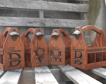 Groomsmen gift set - Wood Beer Tote carrier Set of 6 - Personalized Best man gift - Home Brew Caddy- Wedding gift