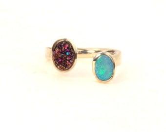 Blue Opal Titanium Drusy Sterling Wrap Ring Split Setting