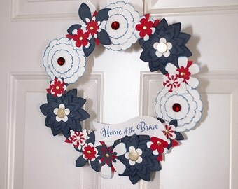 Red White and Blue 4th of July Wreath Paper Flowers July 4th Celebrations small 12 inch
