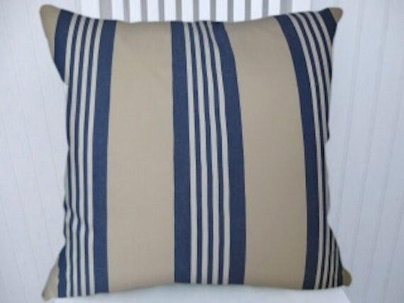 Blue Striped Throw Pillow Cover : Blue Sand Stripe Pillow Cover Decorative by CodyandCooperDesigns