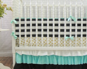 White, Aqua, and Black Crib/Toddler Skirt, SKIRT ONLY, Black Gold Baby Bedding, Aqua Gold Baby Bedding