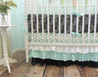 Arrow Themed Crib Bedding in Black, White, and Aqua, Gray Arrow Bedding, Watercolor Arrow, Grey Aqua Baby Bedding