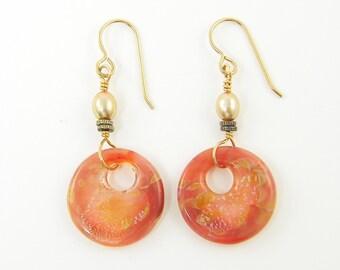 Coral Hoop Earrings Borosilicate Glass Earrings Coral Dangle Earrings Gold Pearl Long Dangle Art Glass Earrings