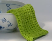 Hand knitted baby wash cloth - soft cotton lime green