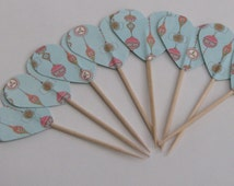 CLEARANCE 50% off - Christmas cupcake topper - food pick - tooth pick aqua Russian ornaments