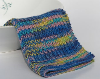Hand knitted dish cloth - wash cloth - soft cotton blue yellow green rose multicolored