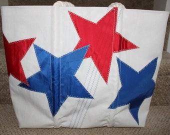 Recycled blue and red star sail bag
